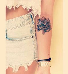 Pretty rose tattoo. Really want something similar in the same spot, but awith a bit more color :-)