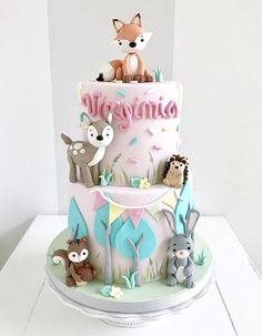 1st Birthday Cake For Girls, Baby Birthday Cakes, Dog Cakes, Girl Cakes, Woodland Cake, Bolo Cake, Farm Cake, Animal Cakes, Forest Cake