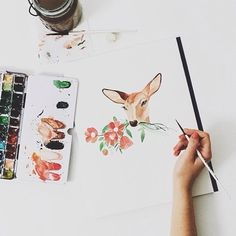 I really, really want to take an art/painting class - I would kill to be able to paint animals and basic silhouettes in watercolor, acrylic etc. Illustrations, Illustration Art, Art Inspo, Painting Inspiration, Oeuvre D'art, Painting & Drawing, Watercolor Paintings, Watercolor Deer, Watercolours