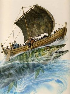 Pike in Finnish mythology In Finnish mythology pike often appears as a giant fish, in Kalevala there also are couple giant pikes, Väinämöinen's kantele. Mythological Creatures, Mythical Creatures, Viking Age, High Fantasy, Norse Mythology, Gods And Goddesses, Fairy Tales, Illustration Art, Old Things