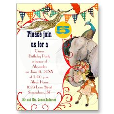 Child's Circus Elephant Peacock Giraffe Party Post Card from Zazzle.com
