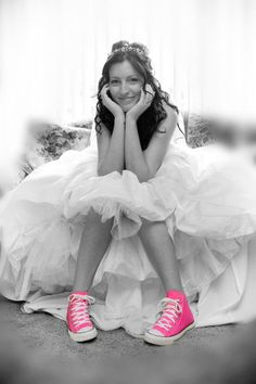 This is what I would want to wear with my wedding dress! Love me some pink high tops!