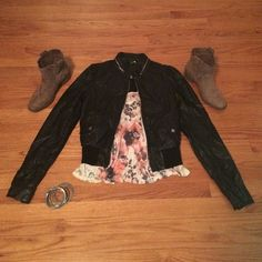 Faux leather jacket Edge up a girly top with this faux leather jacket! Pair it with some booties and silver bangles & you're ready for a night out! The jacket is in good used condition. It is a size 8, but H&M runs small, so it should fit a size small. All of these items are for sale separately! H&M Jackets & Coats Utility Jackets