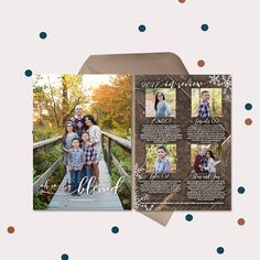Oh So Very Blessed Year in Review Christmas Cards · Rustic Family Update Cards · Includes 5 photos and captions