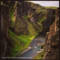 The Majestic Fjaðrárgljúfur Canyon of Southern Iceland.  Photo via Down the Wrabbit Hole - The Travel Bucket List. downthewrabbithole.blogspot.com