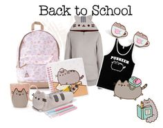 """""""Pusheen at the scool"""" by vanessa-pineda-tessier ❤ liked on Polyvore featuring Pusheen, contestentry and PVxPusheen"""
