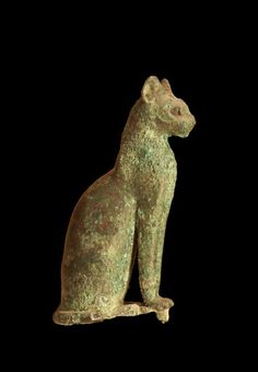Ancient Egyptian wooden cat, c. Old or Middle Kingdom