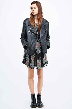 Shop Pins & Needles Leather Biker Jacket in Black at Urban Outfitters today. Bomber Jacket Winter, Leather Cleaning, Biker Style, Winter Coats Women, Leather Fabric, Urban Outfitters, Jackets For Women, How To Wear, Clothes