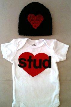 Außergewöhnlich Valentineu0027s Day Outfit For Baby Boys Stud Onesie By RbsDesigns, $34.00