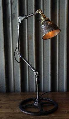 Industrial lighting from Garland antiques dealer John Petty