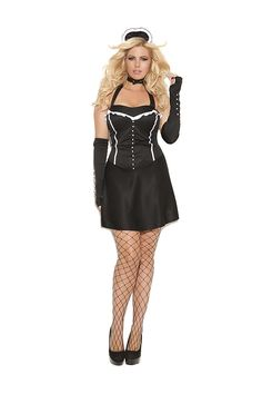 Formal Affair French Maid Costume - includes halter dress, gloves, neck piece and head piece. Available in plus size and WWW. Plus Size Adult Halloween Costumes, Halloween Costumes 2014, Plus Size Costume, Unique Costumes, Costumes For Women, French Maid Costume, Costume Collection, Plus Size Lingerie, Affair