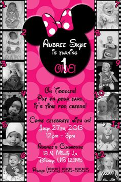 12 month Minnie Mouse Invitation OR Thank you card by SkyeCreation, $15.00