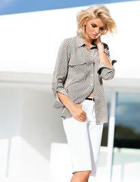Damen Longhemd aus weicher Viskose im Minimaldessin