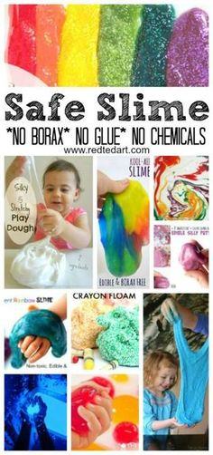 "No Borax Easy Slime Recipes - LOVE Slime? Have NO glue? NO Borax? NO Chemicals. Check out these AMAZING play safe (and often ""taste"" safe) Slime Recipes for Kids. Explore, discover and have LOTS of sensory fun! The best sensory slime play activiti Toddler Fun, Toddler Crafts, Preschool Activities, Art Activities For Kids, Toddler Snacks, Motor Activities, Diy For Kids, Crafts For Kids, Art For Toddlers"