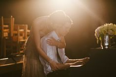 piano playing groom / Rosecliff gown from BHLDN - this would be cute with any instrument