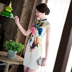 Classic Chinese Women's Satin Qipao Cheongsam Summer Lady's New Flower Dress Sexy Mini Vestido De Festa Size S M L XL XXL