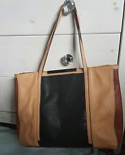 Kenneth Cole reaction brown black large leather tote bag very river island