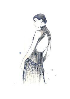 Watercolor #Fashion #Illustration #ArtDeco by JessicaIllustration