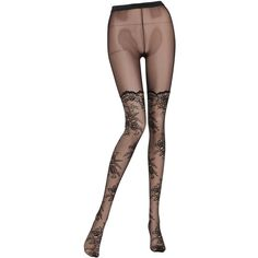 Pierre Mantoux Women Fatal Lace Stockings (€57) ❤ liked on Polyvore featuring intimates, hosiery, tights, black, lace stockings, lace tights, lacy stockings and lace hosiery