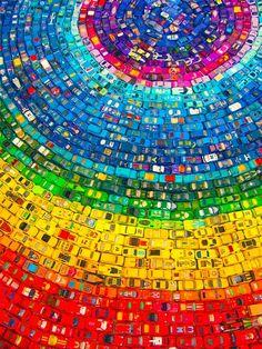 Rainbow of matchbox cars