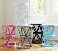 How fun are these colorful side tables? #potterybarnkids #spring2014
