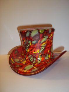 Fenton Glass RUBY RED MOSAIC Ltd Ed of 82 TOP HAT VASE by DAVE FETTY FFOGKC 2008