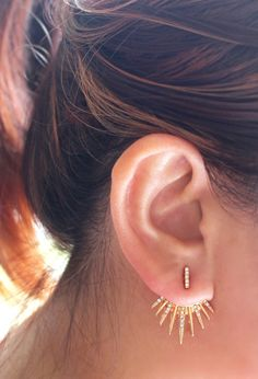 Gold Ear Jacket, Ear Climber , Gold Ear Jacket, Delicate earrings , Wedding earrings. These 2 in 1 earrings, Bar stud can be worn with or without the