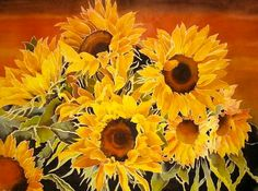 SUNFLOWERS - Limited Edition Fine Art Print - 11 x 14 inches - From Original Watercolor Painting by Pat Howard