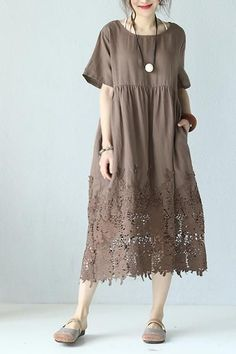 Loose Round Neck Lace Linen Quilted Long Dress www. Loose Round Neck Lace Linen Quilted Long Dress www. Baggy Dresses, Linen Dresses, Casual Dresses, Fashion Dresses, Short Sleeve Dresses, Summer Dresses, Chiffon Dresses, Fall Dresses, Women's Fashion
