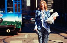 Italian Grunge- Honestly-WTF Love the mixing of blue patterns to unify the outfit as a whole. I would change the handbag color to a gorgeous RED or orange for a pop of color and surprise.
