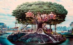 Even tho im afriad of heights i could adjust to live in this. Swiss Family Robinson Treehouse
