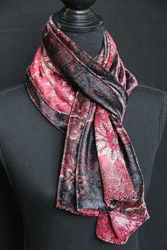 Silk velvet & georgette scarf with beads. See more on www.etsy.com/shop/SlinkySilk