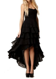 Elegant Solid Black Ruffle Decorated High Low Dress