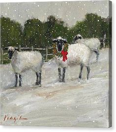 Sheep Art, Christmas Art, Christmas Animals, Christmas Things, Christmas Paintings, Primitive Christmas, Canvas Art Prints, Framed Prints, Painting Canvas