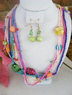 SALE!!  Multistrand Spring Pastels Beaded Necklace Set - Free S