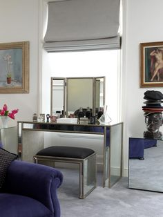 Bloomsbury property, interior design by Godrich Interiors. A mirrored dressing table in the master bedroom.
