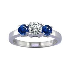 2 CT 3 Stone Blue Sapphire & Diamond Ring 14K White Gold In Size 7 (Available In Sizes 5 – 10) by FineDiamonds9 - See more at: http://blackdiamondgemstone.com/jewelry/wedding-anniversary/engagement-rings/2-ct-3-stone-blue-sapphire-diamond-ring-14k-white-gold-in-size-7-available-in-sizes-5-10-com/