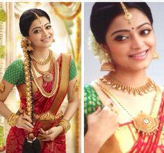 South Indian bride. Temple jewelry. Jhumkis. Red Silk kanchipuram sari with contrast green blouse.Braid with fresh flowers. Tamil bride. Telugu bride. Kannada bride. Hindu bride. Malayalee bride.