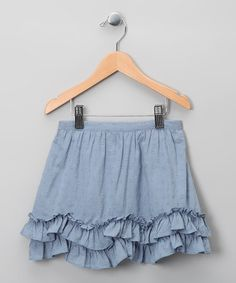 Take a look at this Chambray Ruffle Skirt - Infant, Toddler & Girls by Kid-Perfect Apparel Collection on #zulily today!