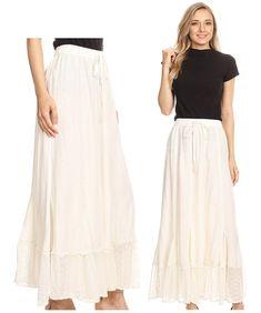d9b9f450ec Sakkas Monica Womens Gypsy Bohemian Long Maxi Skirt with Elastic Waist and  Lace. Floral Print ...