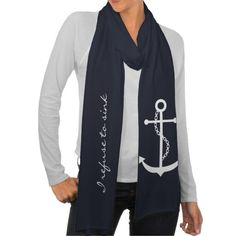 Personalized White Anchor Scarf