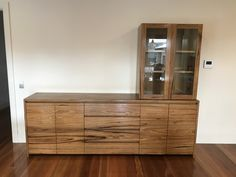 Solid hardwood timber buffet/ sideboard with matching glass cabinet