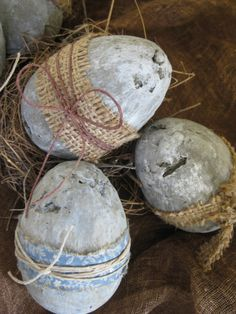 Prim Eggs...wrapped with strips of burlap & homespun...& tied with…