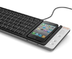 Full-Size Keyboard for iPhone A full-size QWERTY keyboard that allows you to input text into your iPhone from its keys. It can also be used to input commands into your computer from your iPhone.