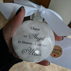 Spouse Memorial Ornament In Memory Christmas Angel in Heaven I call him My Husband Loss of Loved One Gift Sympathy Memory Bauble Widow In Memory Christmas Ornaments, Christmas Candle Decorations, Memorial Ornaments, Memorial Gifts, Personalized Christmas Ornaments, Christmas Angels, Xmas, Glitter Ornaments, Christmas Things