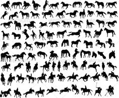 Illustration about 100 vector silhouettes of horses and riders. Illustration of design, animals, hoof - 7470226 Horse Tattoo Design, Horse Tattoos, Horse Clipping, Tiny Horses, Horse Illustration, Horse Posters, Dog Silhouette, Free Illustrations, Vector Art