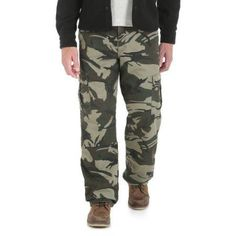 Wrangler Men's Fleece Lined Cargo Pants, Green