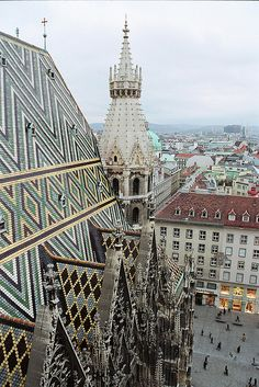Vienna, Austria: The roof of St. Stefan's Cathedral.