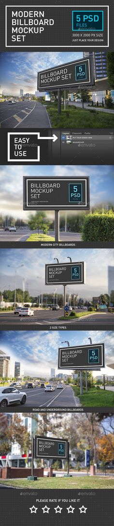 Modern Billboard #Mock-up Set - #Signage Print Download here: https://graphicriver.net/item/modern-billboard-mockup-set/19699410?ref=alena994