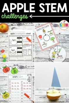 These apple STEM challenges have it all! Grab a bag of apples and dive into science, measurement, buoyancy, life cycles, 2D shapes and numbers. Kids will love these engaging activities and teachers will love the easy prep! These also work for fun homeschool activities as well! #appleactivities #scienceforkids #mathcenters #appleSTEM Apple Activities, Literacy Activities, Activities For Kids, Math Stations, Math Centers, Apple Life Cycle, Measurement Activities, Stem Challenges, Science For Kids